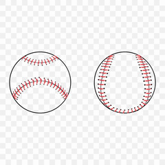 Set of silhouettes of baseball balls on transparent background. Baseball sports concept, baseball ball icon.