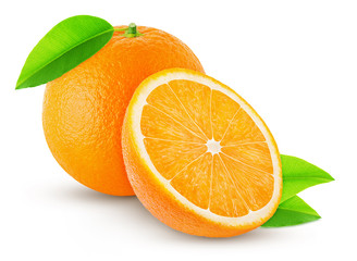 one orange with leaf and half isolated on white background
