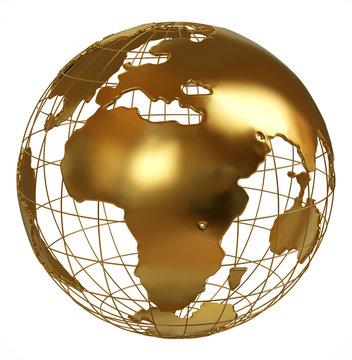 Golden globe Africa side isolated on white