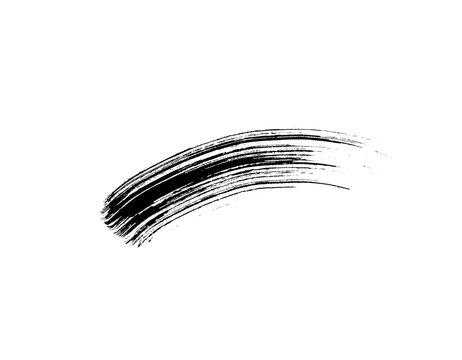 Mascara eyelashes brush stroke makeup isolated on white background. Vector black hand drawn lash scribble swatch.