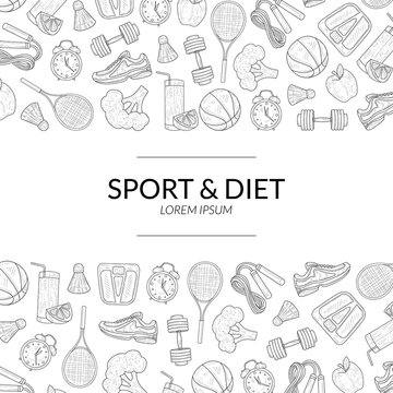 Sport and Diet Banner Template, Healthy Lifestyle, Sports and Fitness Objects Hand Drawn Vector Illustration