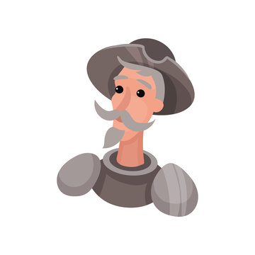 Don Quixote in armor. Vector illustration on white background.