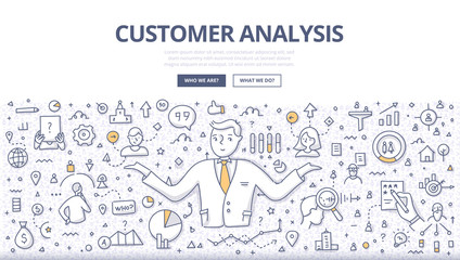 Customer Analysis Doodle Banner