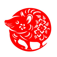 Red paper cut rat chinese zodiac circle style  sign isolate on white background vector design