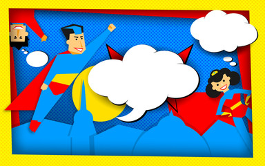 Super heroes poster in retro halftone technique with empty bubbles