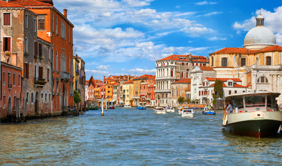 Fototapete - Grand canal panoramic view Venice Italy historical architecture with blue sky white cloud picturesque landscape.