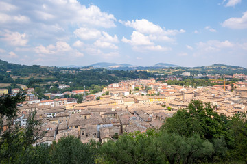 panoramic view to San Severino Marche Italy