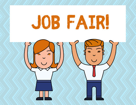 Writing note showing Job Fair. Business concept for event in which employers recruiters give information to employees