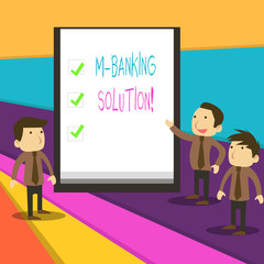 Word writing text M Banking Solution. Business photo showcasing accessed banking through an application on the smartphone