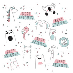 cute unicorn, llama, lion, bear, cat, elephant, giraffe, doodle cartoon vector illustration