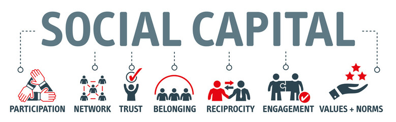 Banner social capital vector illustration with icons