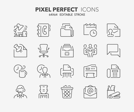 office thin line icons