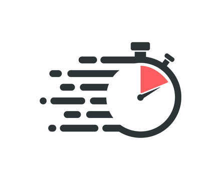 Fast stopwatch icon. Service delivery logo.