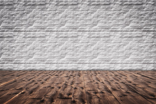 Brick wall with wooden floor template mockup