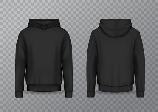 Realistic men hoodie or black 3d hoody, sweatshirt