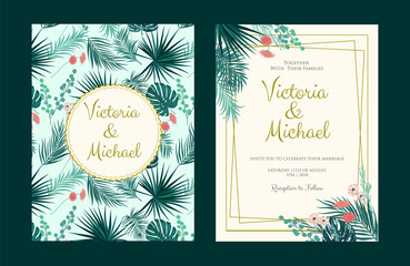 Vector illustration of a floral frame set with tropical leaves for Wedding