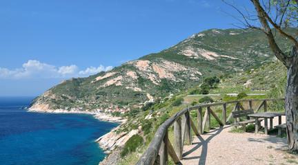Rastplatz an der Küste bei Chiessi auf der Insel Elba,Toskana,Mittelmeer,Italien