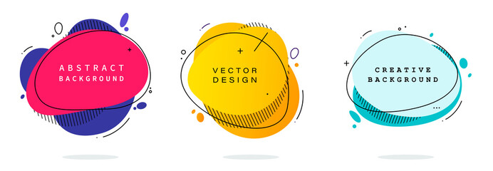 Set of modern abstract vector banners. Flat geometric shapes of different colors with black outline in memphis design style. Template ready for use in web or print design. Fotobehang