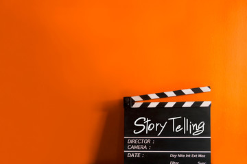 Story telling text title on film slate
