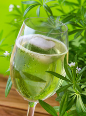 Woodruff May Wine Punch with fresh herbs
