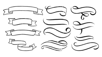 Abstract ribbons and other elements in hand drawn style for concept design. Doodle illustration. Vector template