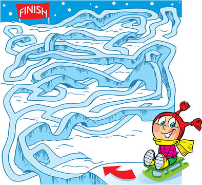In vector illustration puzzle, maze, how to help a child on a sled to get there finish line