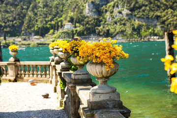 Summer view over of lake Garda in Italy, Europe. Beautiful landscape with lake. Wall mural
