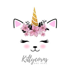 Vector illustration of fantasy animal cat kittycorn.