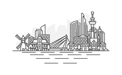 Photo sur Aluminium Rotterdam Rotterdam, Netherlands architecture line skyline illustration. Linear vector cityscape with famous landmarks, city sights, design icons. Landscape with editable strokes.