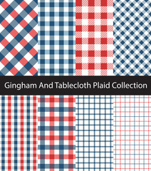 Collection of Blue and Red Gingham / Tablecloth patterns. Seamless checkered and square texture backgrounds.