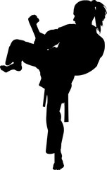 Karate 10 isolated vector silhouette