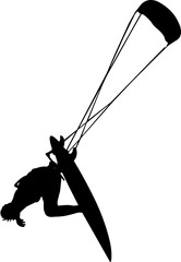 Kite Surfing 4 isolated vector silhouette