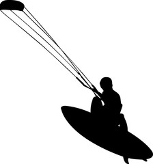 Kite Surfing 1 isolated vector silhouette