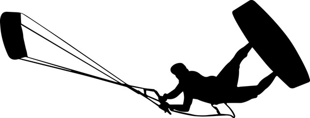 Kite Surfing 10 isolated vector silhouette