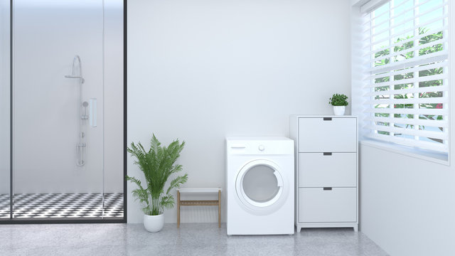 Clean white laundry room 3d rendering in front of empty wall home designs.