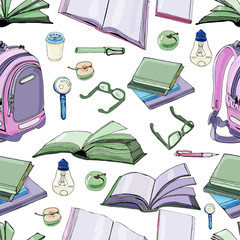 Seamless pattern of  hand drawn ink and colored  sketch with books and school items . Color elements isolated on white background.