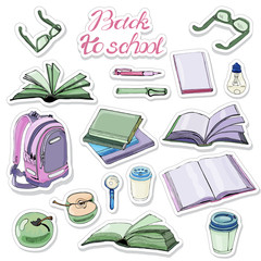 Sticker pack of  hand drawn ink and colored  sketch with books and school items . Color elements isolated on white background.