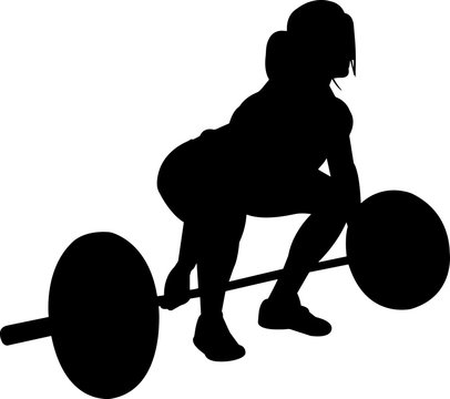 Weightlifting Women 3 isolated vector silhouette