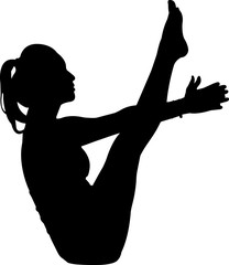 Yoga- Women 7 isolated vector silhouette