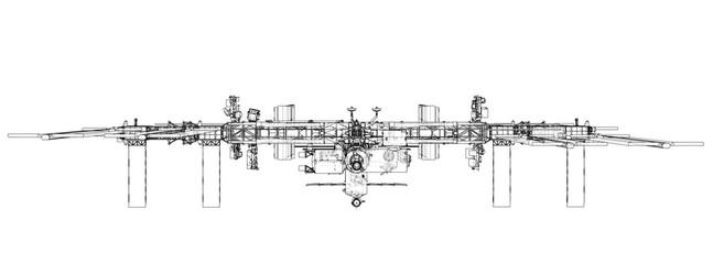 International Space Station Outline. Vector