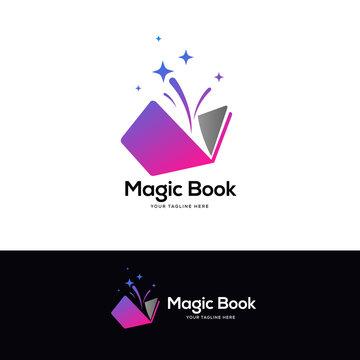 colorful open book logo designs, education logo designs concept