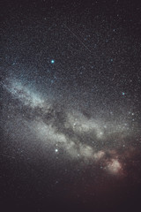 Real Night Sky Stars With Milky Way Galaxy. Natural Starry Sky Background