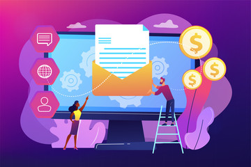 Cusromer receiving automated marketing message, tiny people. Marketing automation system, automated advertise message, marketing dashboard concept. Bright vibrant violet vector isolated illustration
