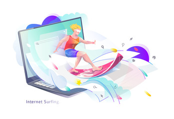 Concept in flat style with man surfing through internet.