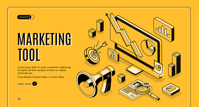 Marketing e-commerce, data analysis tool isometric web banner. Digital business content, column charts on computer screen. Social media network, internet technology. 3d vector landing page, line art
