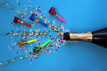 Festive ribbons, confetti and pipes flew out of the champagne bottle
