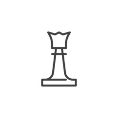 Queen chess piece line icon. linear style sign for mobile concept and web design. Chess queen outline vector icon. Symbol, logo illustration. Pixel perfect vector graphics