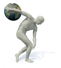 discobolus with planet earth launching