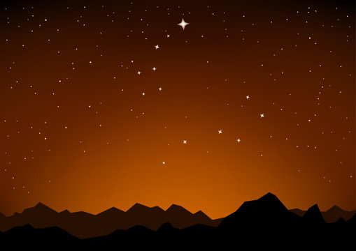 star constellations and mountain sunset