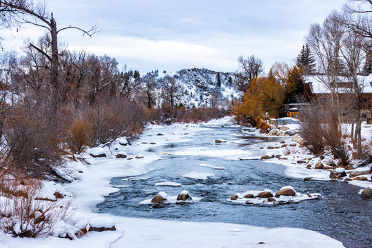 The Yampa River, in the Rocky Mountains of Colorado, on a cold winter day as it passes through the ski resort town of Steamboat Springs.